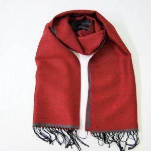 Sciarpa Lana - cm.190x37 - unito rosso grigio – double face - lana 100% - COD.NSL013 - made in Italy