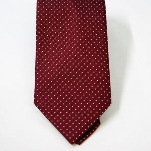 Jacquard ties – pin point – bordeaux white – COD.N079 – 100% silk – made in Italy 2