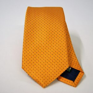 Jacquard ties – pin point – orange blue – COD.N074 – 100% silk – made in Italy