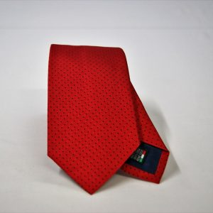Jacquard ties – pin point – red blue – COD.N078 – 100% silk – made in Italy