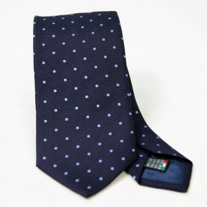 Jacquard ties – pois – blue light blue – COD.N081 – 100% silk – made in Italy