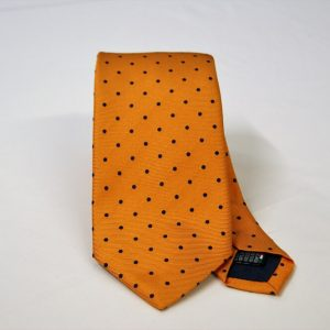 Jacquard ties – pois – orange blue – COD.N085 – 100% silk – made in Italy