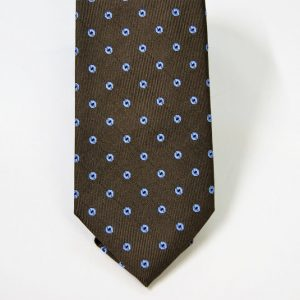 Jacquard ties – cm.7 – Brown light blue – COD.ST016 – 100% silk – made in Italy 2