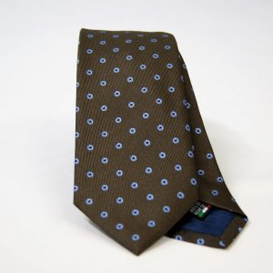 Jacquard ties – cm.7 – Brown light blue – COD.ST017 – 100% silk – made in Italy
