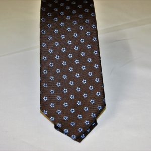 Jacquard ties – cm.7 – Brown light blue – COD.ST017 – 100% silk – made in Italy 2