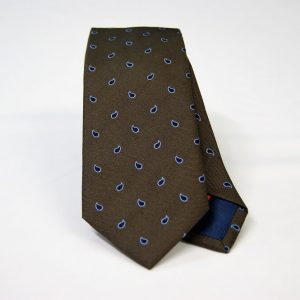 Jacquard ties – cm.7 – Brown light blue – COD.ST018 – 100% silk – made in Italy