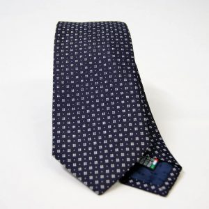 Jacquard ties – cm.7 – blue white – COD.ST007 – 100% silk – made in Italy