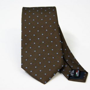 Jacquard ties – pois – brown light blue – COD.N088 – 100% silk – made in Italy
