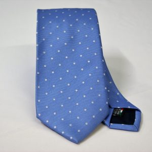 Jacquard ties – pois – light blue white – COD.N083 – 100% silk – made in Italy