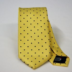 Jacquard ties – pois – yellow blue – COD.N086 – 100% silk – made in Italy