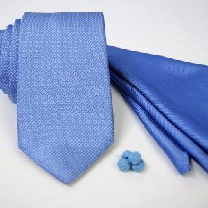 Tie Set Jacquard Pochette - Cotton Cufflinks – light blue background - COD.SET004 - 100% silk - made in Italy