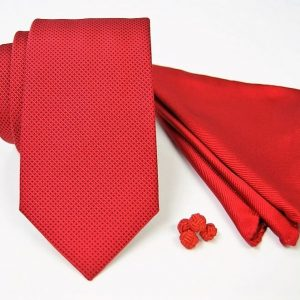 Tie Set Jacquard Pochette - Cotton Cufflinks – red background - COD.SET006 - 100% silk - made in Italy