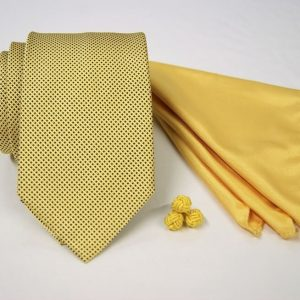 Tie Set Jacquard Pochette - Cotton Cufflinks – yellow background - COD.SET005 - 100% silk - made in Italy