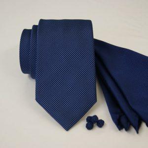 Tie Set Jacquard Pochette - Cotton Cufflinks - blue background - COD.SET001 - 100% silk - made in Italy