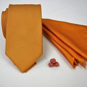 Tie Set Jacquard Pochette - Cotton Cufflinks - orange background - COD.SET003 - 100% silk - made in Italy