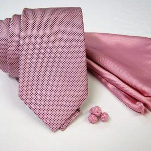 Tie Set Jacquard Pochette - Cotton Cufflinks - pink background - COD.SET002 - 100% silk - made in Italy