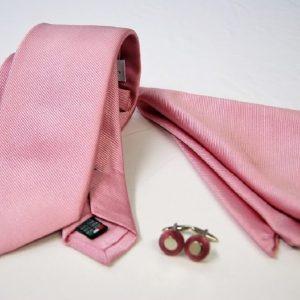Tie Set Jacquard Pochette - Steel Cufflinks – pink background - COD.SET010 - 100% silk - made in Italy