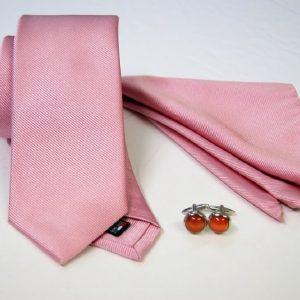 Tie Set Jacquard Pochette - Steel Cufflinks – pink background - COD.SET011 - 100% silk - made in Italy