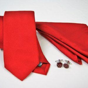 Tie Set Jacquard Pochette - Steel Cufflinks – red background - COD.SET007 - 100% silk - made in Italy