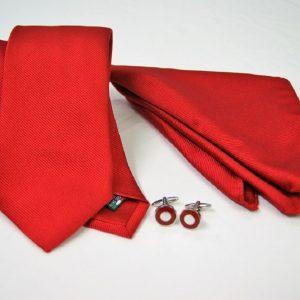 Tie Set Jacquard Pochette - Steel Cufflinks – red background - COD.SET008 - 100% silk - made in Italy