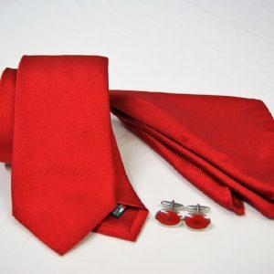 Tie Set Jacquard Pochette - Steel Cufflinks – red background - COD.SET009 - 100% silk - made in Italy