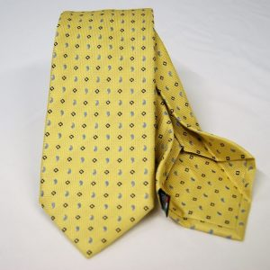 Jacquard - Sevenfold tie – Yellow background – COD.7P001 - 100% silk - made in Italy