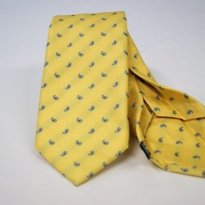 Jacquard - Sevenfold tie – Yellow background – COD.7P002 - 100% silk - made in Italy