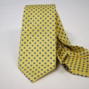 Jacquard - Sevenfold tie – Yellow background – COD.7P003 - 100% silk - made in Italy
