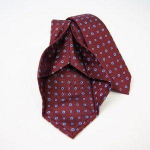 Jacquard - Sevenfold ties – bordeaux background – COD.7P014 - 100% silk - made in Italy 2
