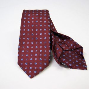 Jacquard - Sevenfold ties – bordeaux background – COD.7P014 - 100% silk - made in Italy