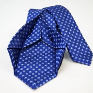 Jacquard - Sevenfold ties – electric blue background – COD.7P007 - 100% silk - made in Italy 2