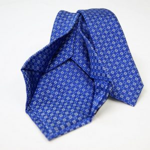 Jacquard - Sevenfold ties – electric blue background – COD.7P008 - 100% silk - made in Italy 2