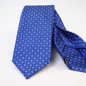 Jacquard - Sevenfold ties – electric blue background – COD.7P008 - 100% silk - made in Italy