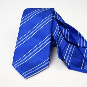 Jacquard - Sevenfold ties – electric blue background – COD.7P010 - 100% silk - made in Italy