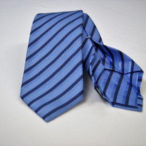Cravatta Settepieghe - Jacquard – fondo azzurro – COD.7P005 – seta 100% - made in Italy