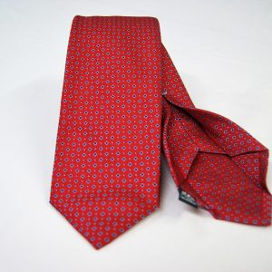 Jacquard - Sevenfold ties – red background – COD.7P015 - 100% silk - made in Italy