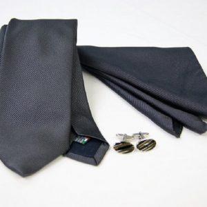 Tie Set Jacquard Pochette - Steel Cufflinks – anthracite background - COD.SET013 - 100% silk - made in Italy