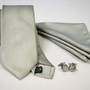 Tie Set Jacquard Pochette - Steel Cufflinks – gray background - COD.SET014 - 100% silk - made in Italy