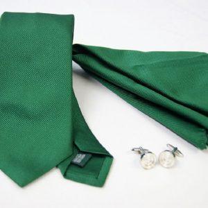 Tie Set Jacquard Pochette - Steel Cufflinks – green background - COD.SET012 - 100% silk - made in Italy