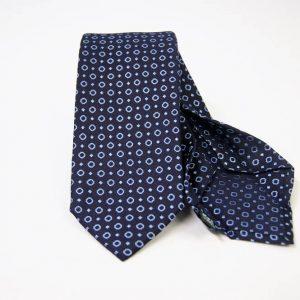 Cravatta Settepieghe - Jacquard – fondo blu con azzurro – COD.7P024 – seta 100% - made in Italy