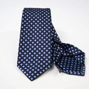 Jacquard - Sevenfold ties – blue background with light blue – COD.7P025 - 100% silk - made in Italy