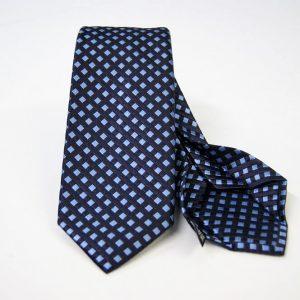 Cravatta Settepieghe - Jacquard – fondo blu con azzurro – COD.7P025 – seta 100% - made in Italy