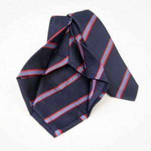 Cravatta Settepieghe - Jacquard – fondo blu con rosso – COD.7P027 – seta 100% - made in Italy 2