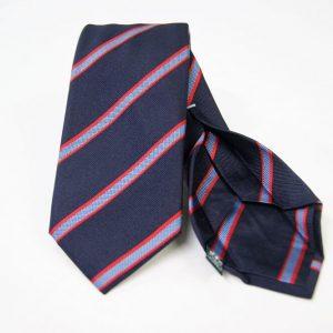 Cravatta Settepieghe - Jacquard – fondo blu con rosso – COD.7P027 – seta 100% - made in Italy