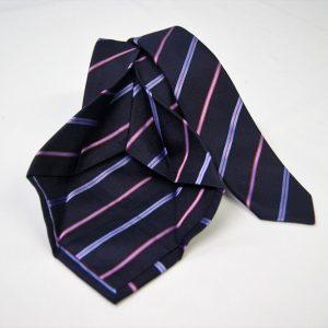 Cravatta Settepieghe - Jacquard – fondo blu con rosso – COD.7P028 – seta 100% - made in Italy 2