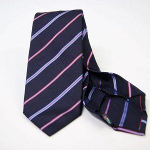Cravatta Settepieghe - Jacquard – fondo blu con rosso – COD.7P028 – seta 100% - made in Italy