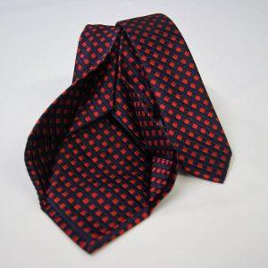Cravatta Settepieghe - Jacquard – fondo blu con rosso – COD.7P029 – seta 100% - made in Italy 2