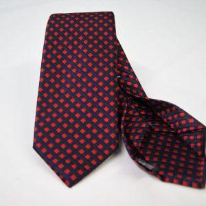 Cravatta Settepieghe - Jacquard – fondo blu con rosso – COD.7P029 – seta 100% - made in Italy