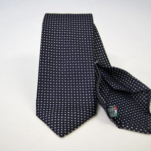 Jacquard - Sevenfold ties – blue background with white – COD.7P019 - 100% silk - made in Italy