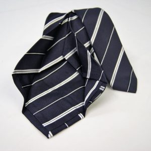 Jacquard - Sevenfold ties – blue background with white – COD.7P020 - 100% silk - made in Italy 2